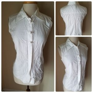 Coldwater Creek White Sleeveless Button Up Shirt